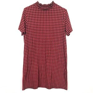 Zara Mini Buffalo Check Short Sleeve Shift Dress